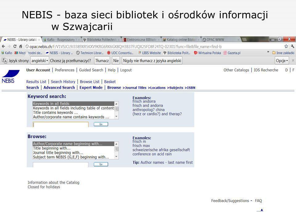 NEBIS - baza sieci bibliotek i ośrodków informacji w Szwajcarii