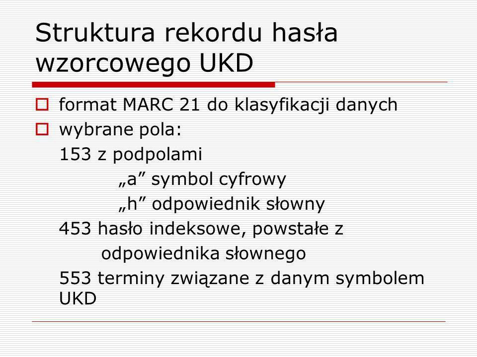 Struktura rekordu hasła wzorcowego UKD format MARC 21 do klasyfikacji danych wybrane pola: 153 z podpolami a symbol cyfrowy h odpowiednik słowny 453 h