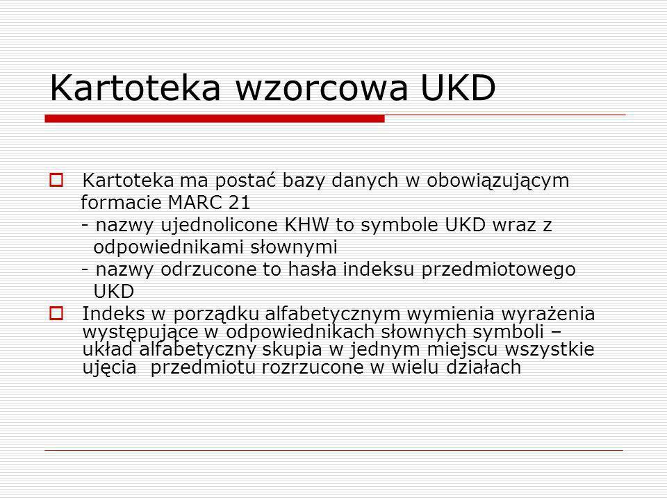 Kartoteka wzorcowa UKD Kartoteka ma postać bazy danych w obowiązującym formacie MARC 21 - nazwy ujednolicone KHW to symbole UKD wraz z odpowiednikami