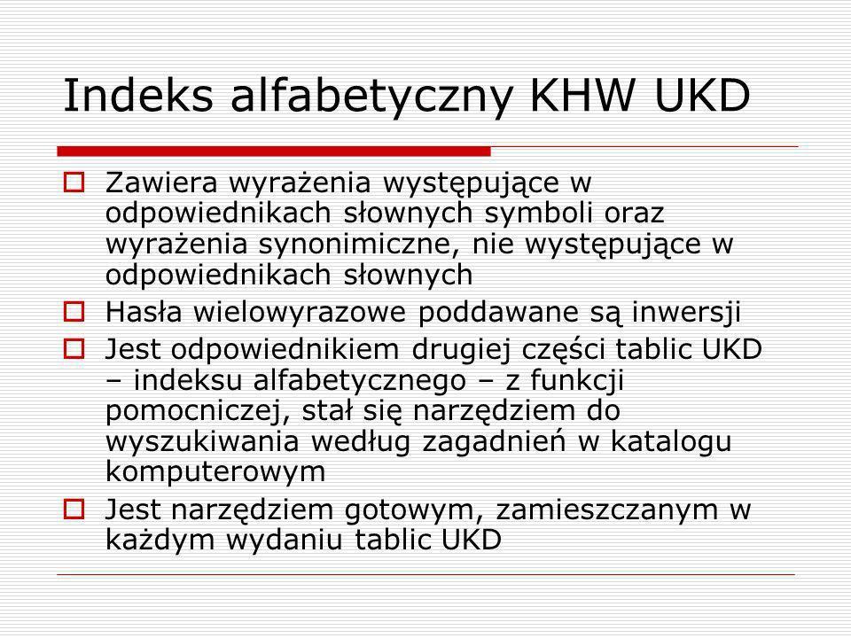 Indeks alfabetyczny KHW UKD Zawiera wyrażenia występujące w odpowiednikach słownych symboli oraz wyrażenia synonimiczne, nie występujące w odpowiednik