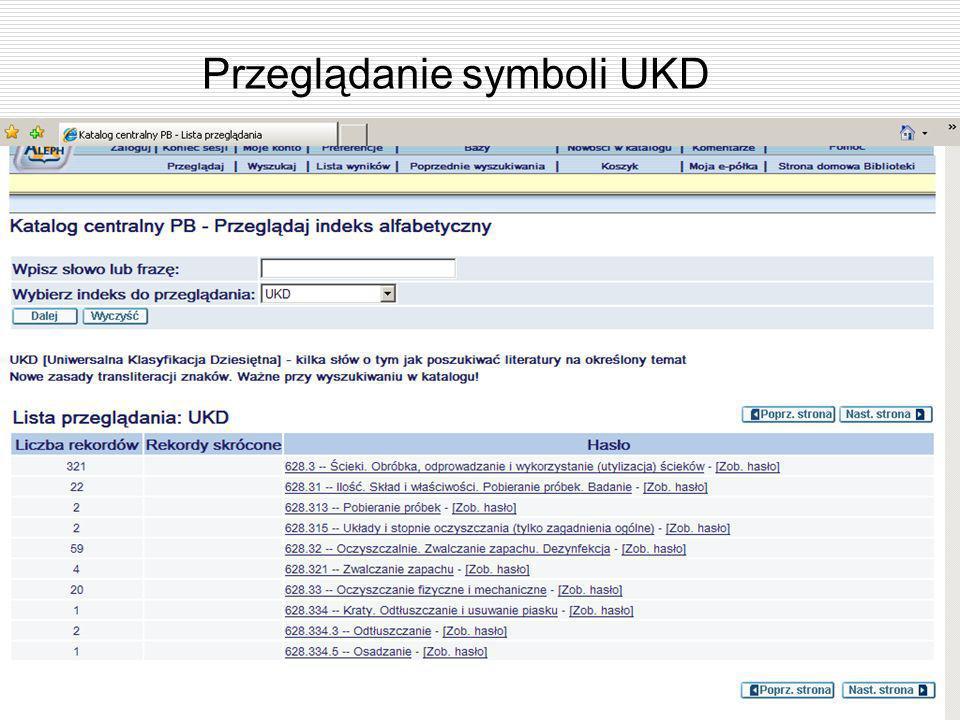 Przeglądanie symboli UKD