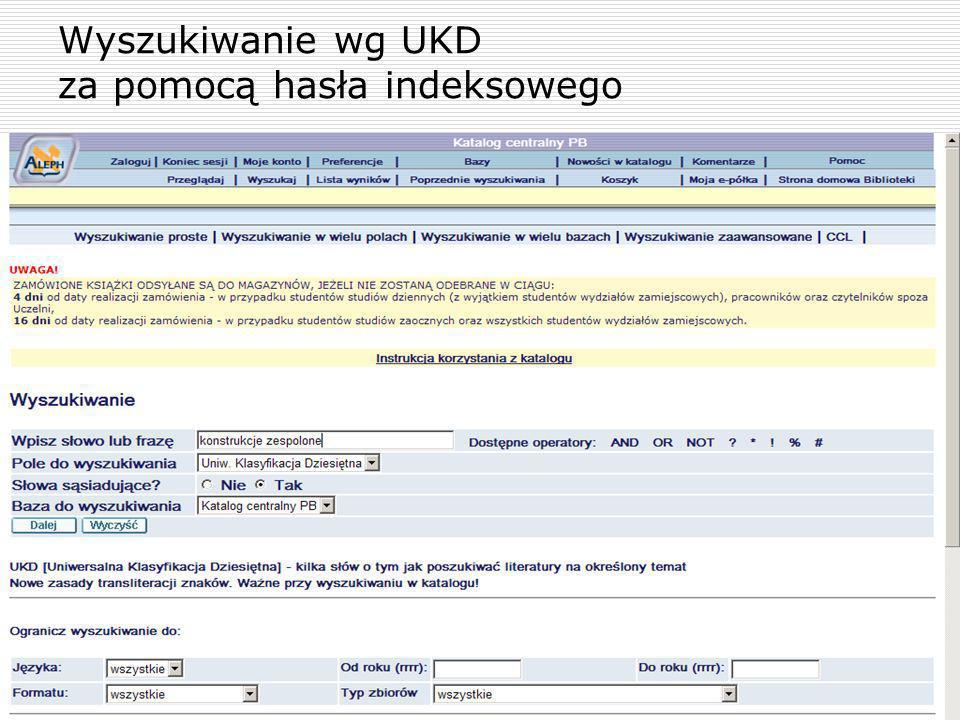 Wyszukiwanie wg UKD za pomocą hasła indeksowego