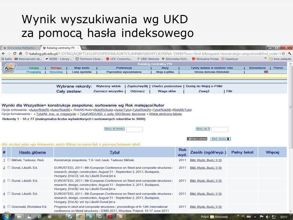 Wynik wyszukiwania wg UKD za pomocą hasła indeksowego