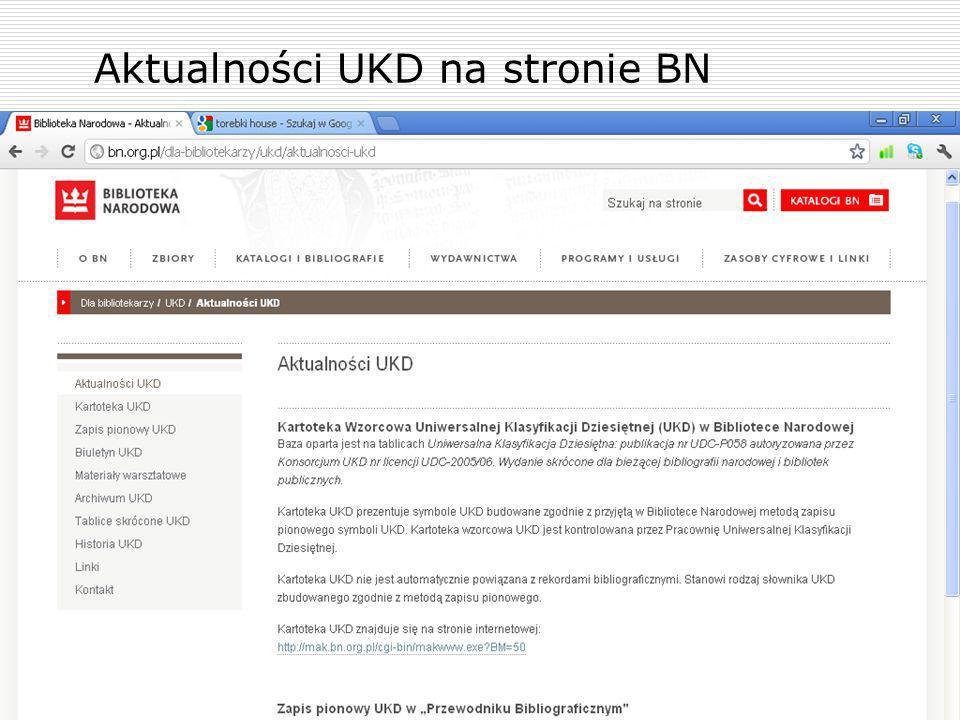 Aktualności UKD na stronie BN