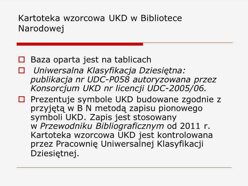 Kartoteka wzorcowa UKD w Bibliotece Narodowej Baza oparta jest na tablicach Uniwersalna Klasyfikacja Dziesiętna: publikacja nr UDC-P058 autoryzowana p
