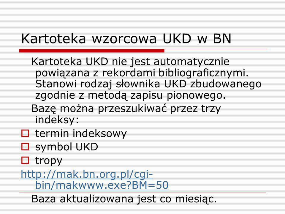 Kartoteka wzorcowa UKD w BN Kartoteka UKD nie jest automatycznie powiązana z rekordami bibliograficznymi. Stanowi rodzaj słownika UKD zbudowanego zgod