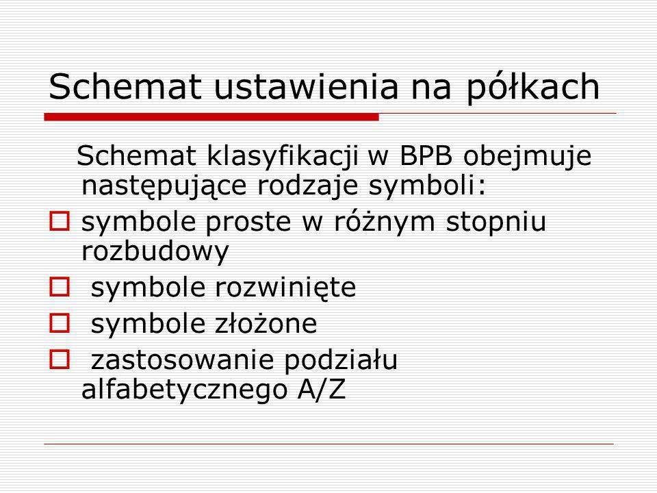 Schemat ustawienia na półkach Schemat klasyfikacji w BPB obejmuje następujące rodzaje symboli: symbole proste w różnym stopniu rozbudowy symbole rozwi