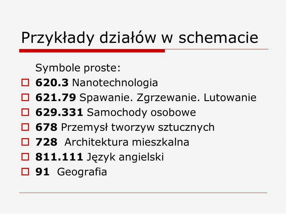 Przykłady działów w schemacie Symbole proste: 620.3 Nanotechnologia 621.79 Spawanie. Zgrzewanie. Lutowanie 629.331 Samochody osobowe 678 Przemysł twor