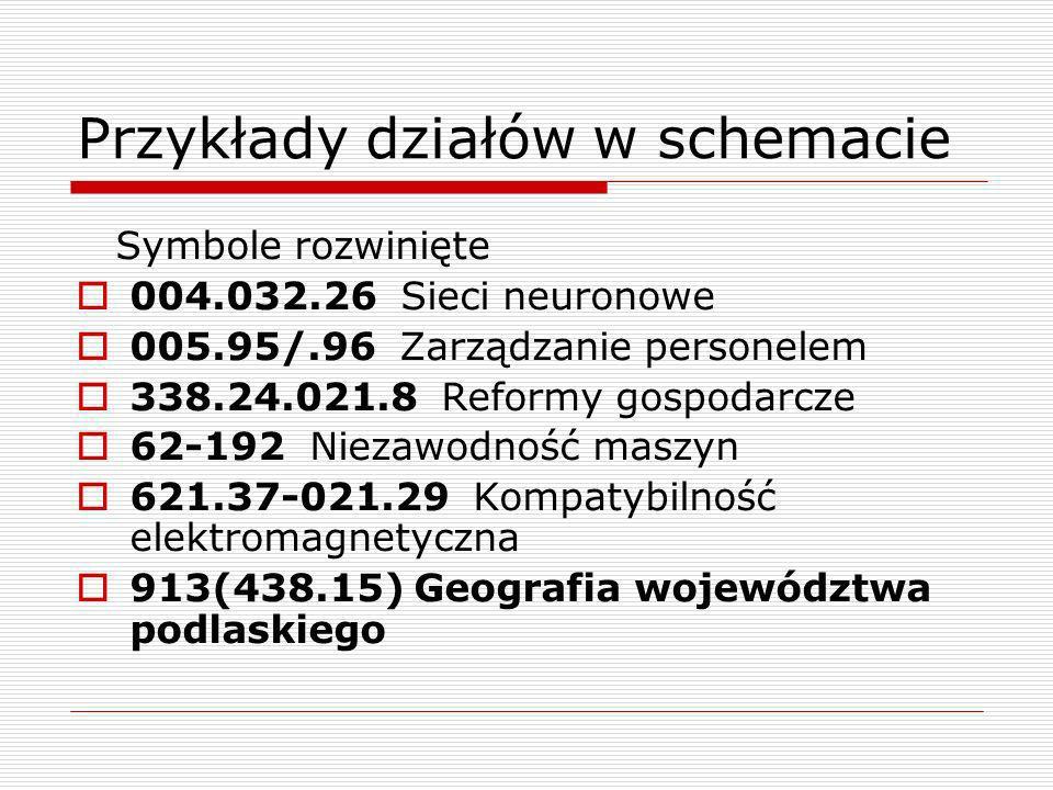 Przykłady działów w schemacie Symbole rozwinięte 004.032.26 Sieci neuronowe 005.95/.96 Zarządzanie personelem 338.24.021.8 Reformy gospodarcze 62-192