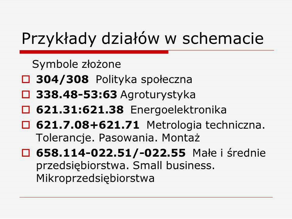 Przykłady działów w schemacie Symbole złożone 304/308 Polityka społeczna 338.48-53:63 Agroturystyka 621.31:621.38 Energoelektronika 621.7.08+621.71 Me