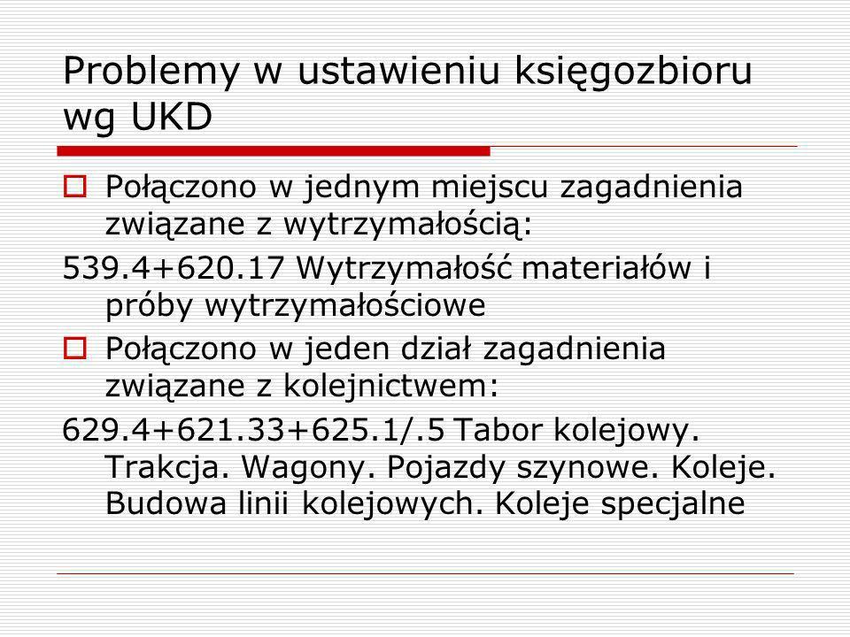 Problemy w ustawieniu księgozbioru wg UKD Połączono w jednym miejscu zagadnienia związane z wytrzymałością: 539.4+620.17 Wytrzymałość materiałów i pró