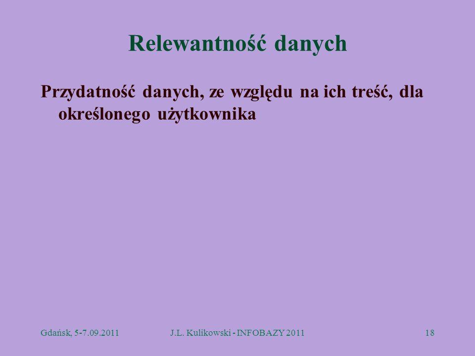 Relewantność danych Przydatność danych, ze względu na ich treść, dla określonego użytkownika Gdańsk, 5-7.09.2011J.L. Kulikowski - INFOBAZY 201118