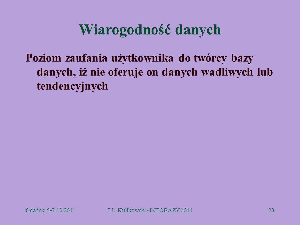 Wiarogodność danych Poziom zaufania użytkownika do twórcy bazy danych, iż nie oferuje on danych wadliwych lub tendencyjnych Gdańsk, 5-7.09.2011J.L. Ku