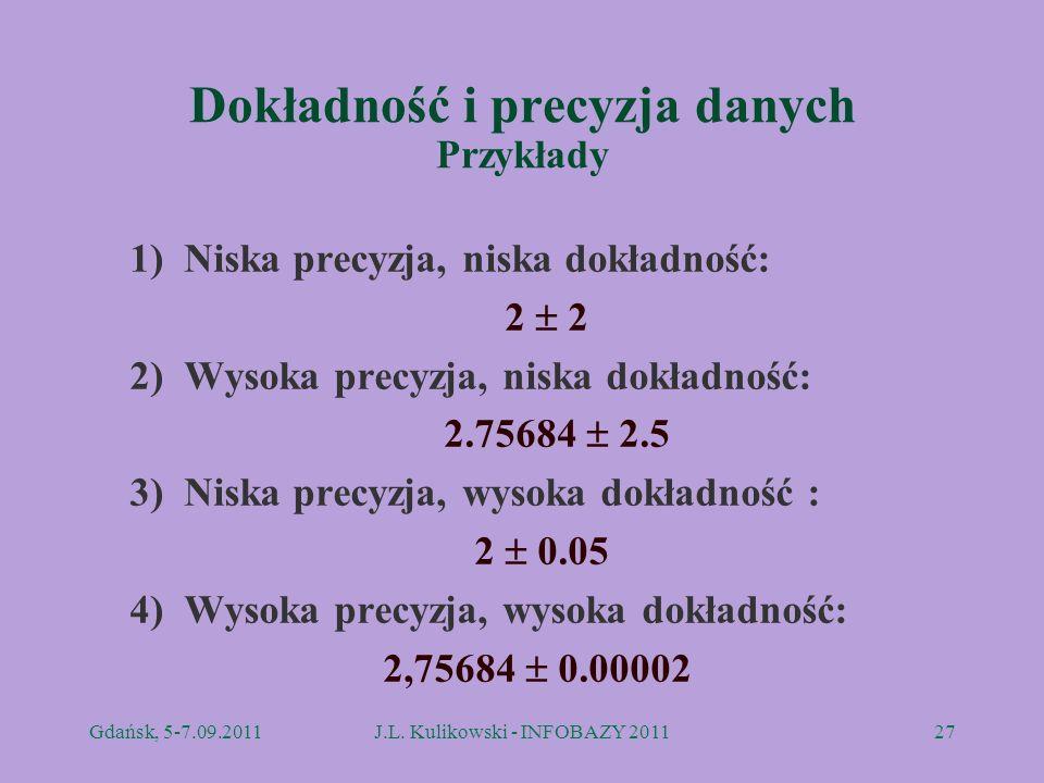 Dokładność i precyzja danych Przykłady 1) Niska precyzja, niska dokładność: 2 2) Wysoka precyzja, niska dokładność: 2.75684 2.5 3) Niska precyzja, wys