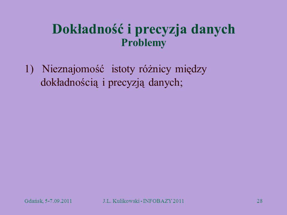 Dokładność i precyzja danych Problemy 1) Nieznajomość istoty różnicy między dokładnością i precyzją danych; Gdańsk, 5-7.09.2011J.L. Kulikowski - INFOB