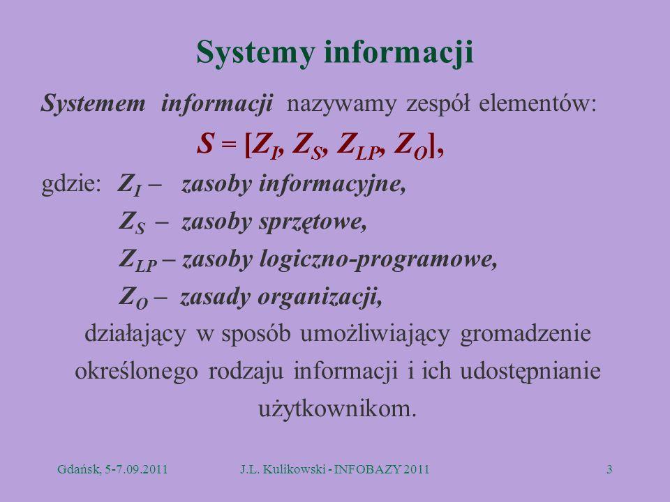 Systemy informacji Systemem informacji nazywamy zespół elementów: S = [Z I, Z S, Z LP, Z O ], gdzie: Z I – zasoby informacyjne, Z S – zasoby sprzętowe