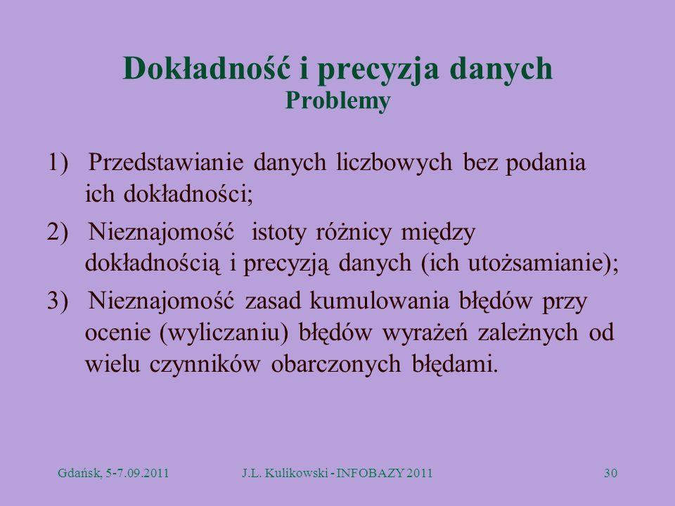 Dokładność i precyzja danych Problemy 1) Przedstawianie danych liczbowych bez podania ich dokładności; 2) Nieznajomość istoty różnicy między dokładnoś