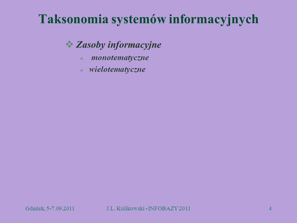 Taksonomia systemów informacyjnych Zasoby informacyjne monotematyczne wielotematyczne Gdańsk, 5-7.09.2011J.L. Kulikowski - INFOBAZY 20114