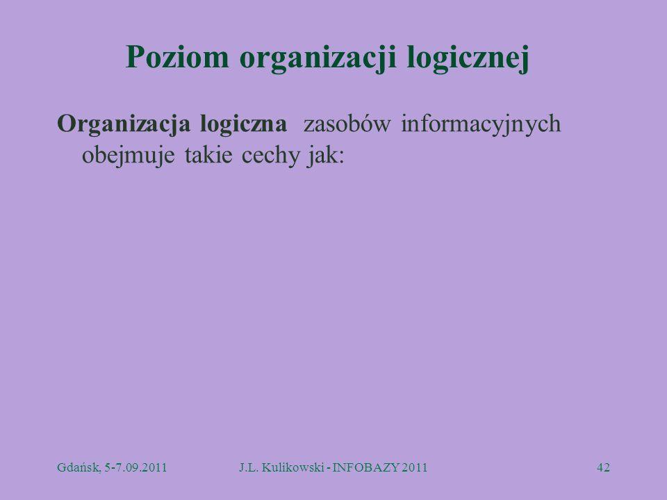 Poziom organizacji logicznej Organizacja logiczna zasobów informacyjnych obejmuje takie cechy jak: Gdańsk, 5-7.09.2011J.L. Kulikowski - INFOBAZY 20114