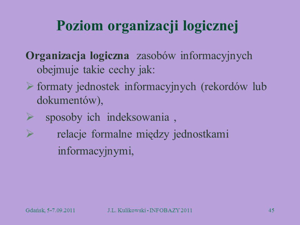 Poziom organizacji logicznej Organizacja logiczna zasobów informacyjnych obejmuje takie cechy jak: formaty jednostek informacyjnych (rekordów lub doku