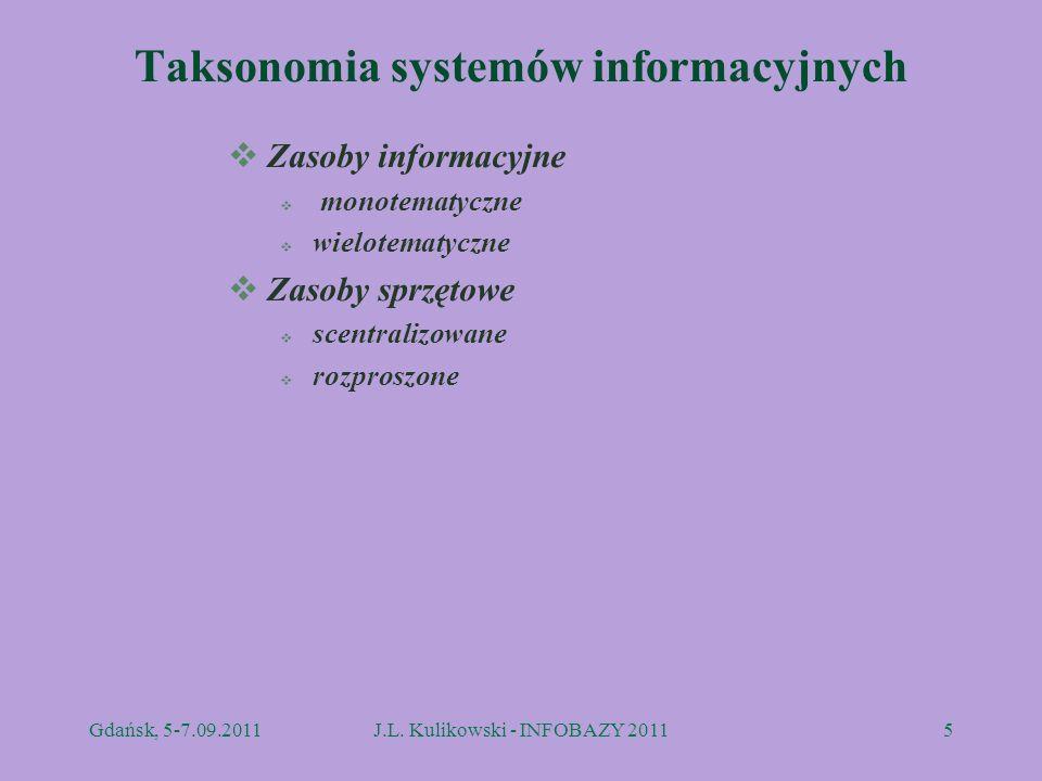 Taksonomia systemów informacyjnych Zasoby informacyjne monotematyczne wielotematyczne Zasoby sprzętowe scentralizowane rozproszone Gdańsk, 5-7.09.2011