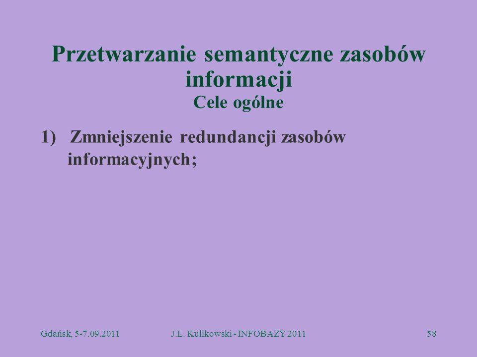 Przetwarzanie semantyczne zasobów informacji Cele ogólne 1) Zmniejszenie redundancji zasobów informacyjnych; Gdańsk, 5-7.09.2011J.L. Kulikowski - INFO