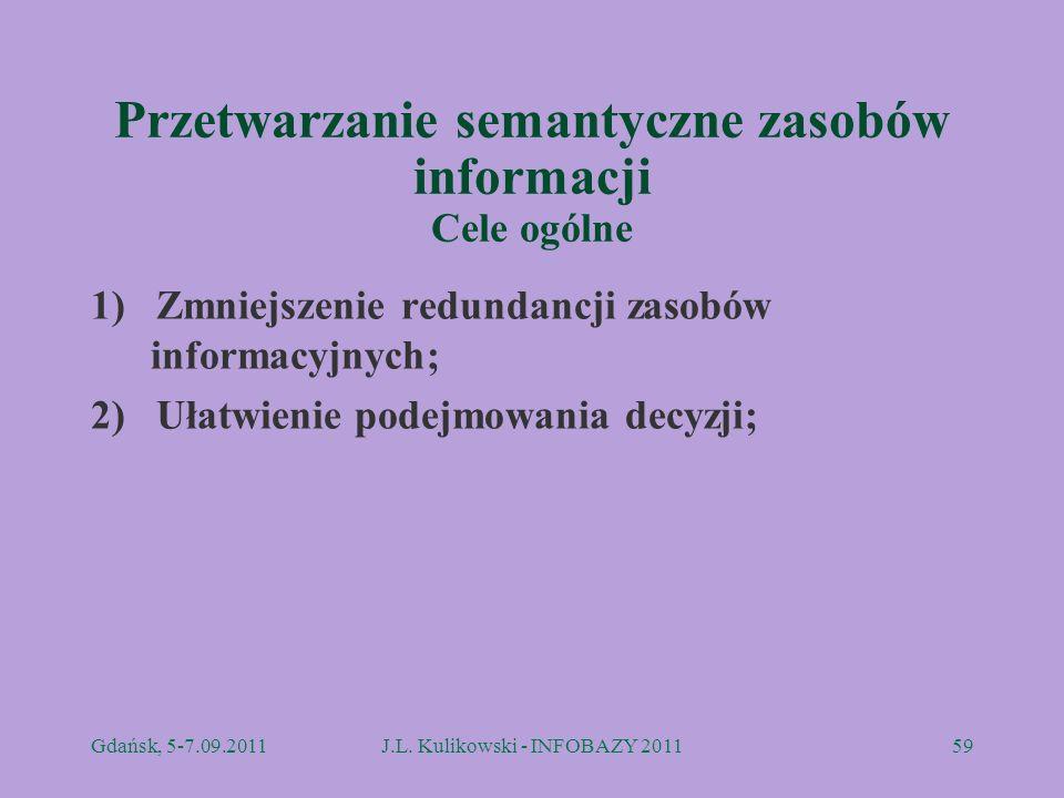 Przetwarzanie semantyczne zasobów informacji Cele ogólne 1) Zmniejszenie redundancji zasobów informacyjnych; 2) Ułatwienie podejmowania decyzji; Gdańs