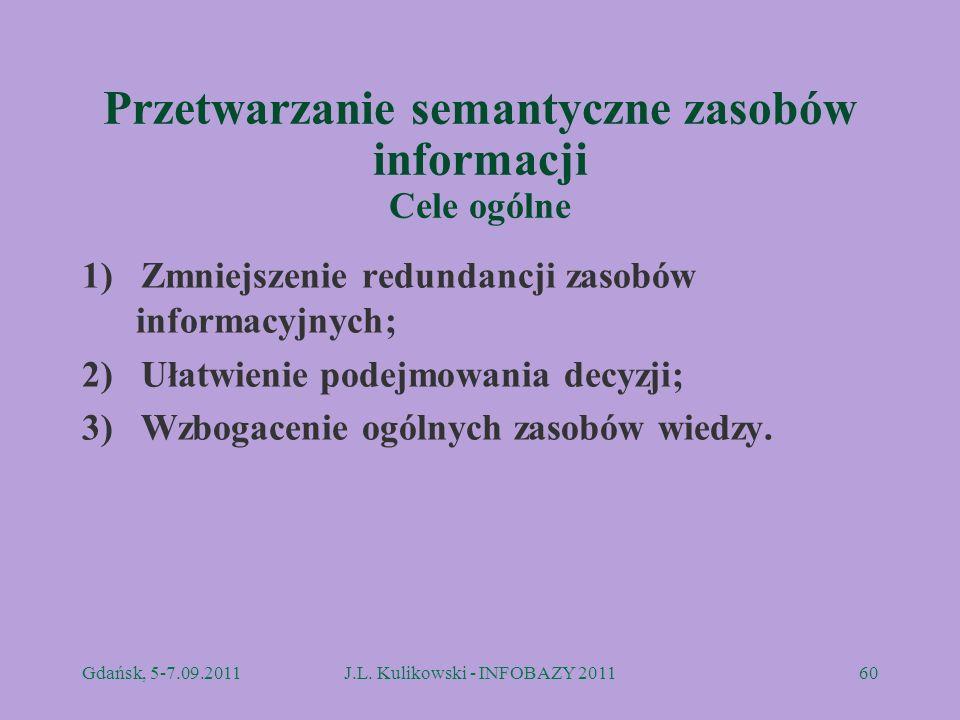 Przetwarzanie semantyczne zasobów informacji Cele ogólne 1) Zmniejszenie redundancji zasobów informacyjnych; 2) Ułatwienie podejmowania decyzji; 3) Wz