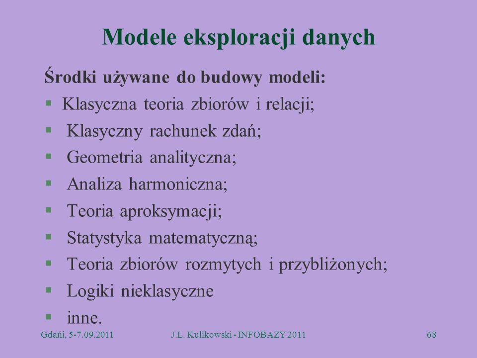 Modele eksploracji danych Środki używane do budowy modeli: §Klasyczna teoria zbiorów i relacji; § Klasyczny rachunek zdań; § Geometria analityczna; §