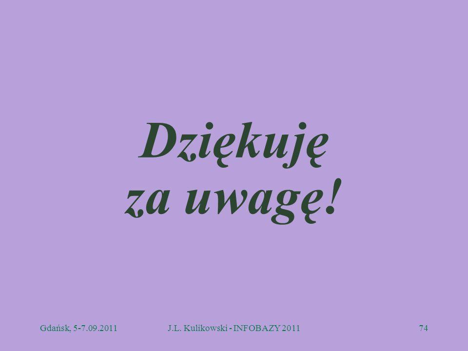 Dziękuję za uwagę! Gdańsk, 5-7.09.2011J.L. Kulikowski - INFOBAZY 201174