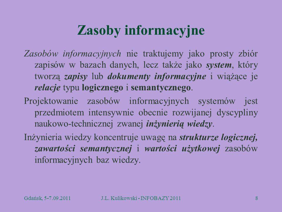 Zasoby informacyjne Zasobów informacyjnych nie traktujemy jako prosty zbiór zapisów w bazach danych, lecz także jako system, który tworzą zapisy lub d