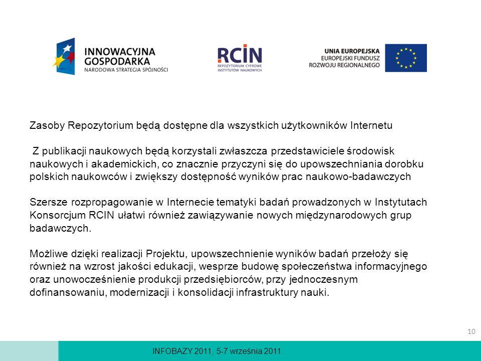 INFOBAZY 2011, 5-7 września 2011. Zasoby Repozytorium będą dostępne dla wszystkich użytkowników Internetu Z publikacji naukowych będą korzystali zwłas