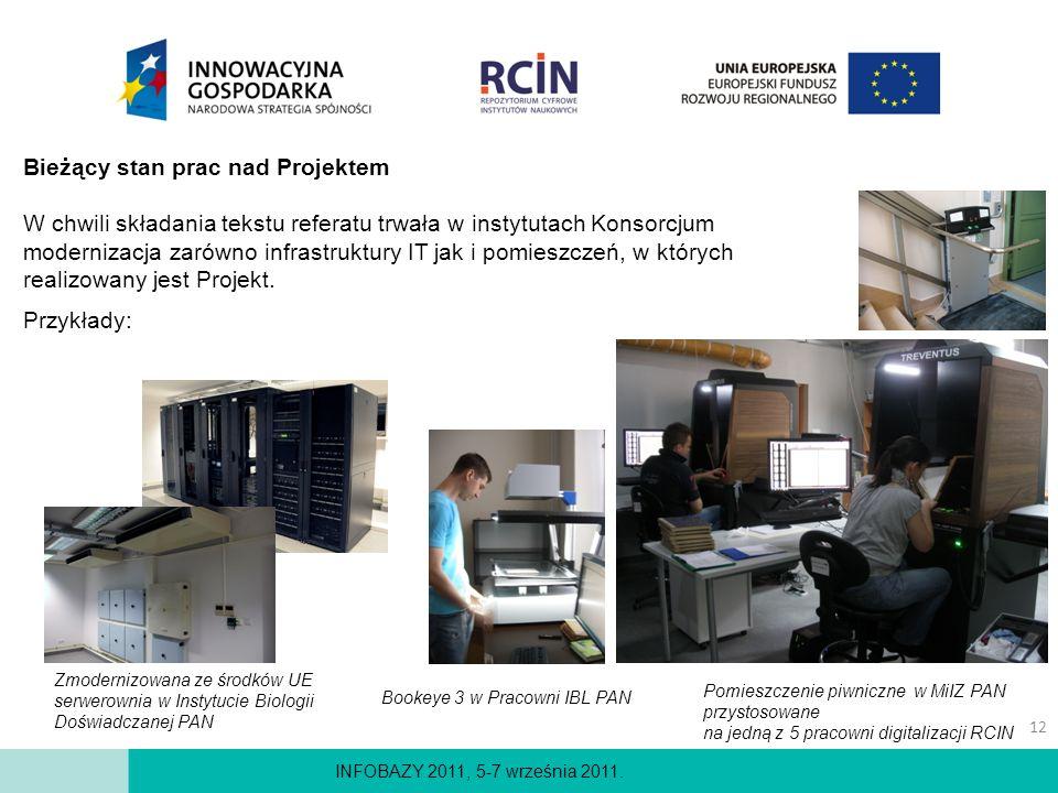 INFOBAZY 2011, 5-7 września 2011. Bieżący stan prac nad Projektem W chwili składania tekstu referatu trwała w instytutach Konsorcjum modernizacja zaró