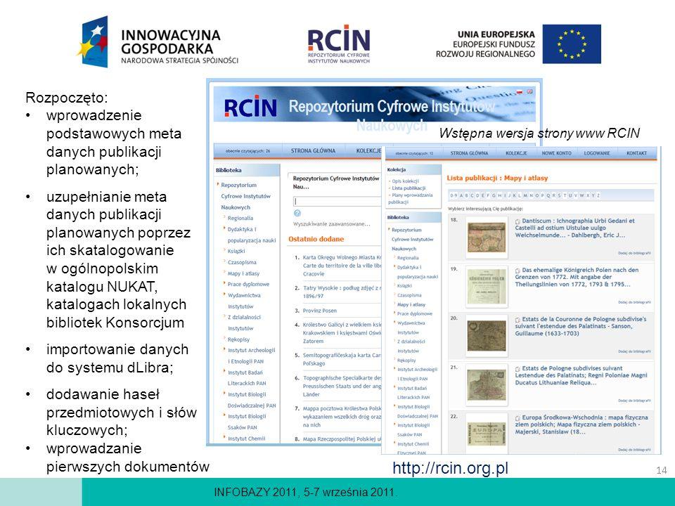 INFOBAZY 2011, 5-7 września 2011. Rozpoczęto: wprowadzenie podstawowych meta danych publikacji planowanych; uzupełnianie meta danych publikacji planow