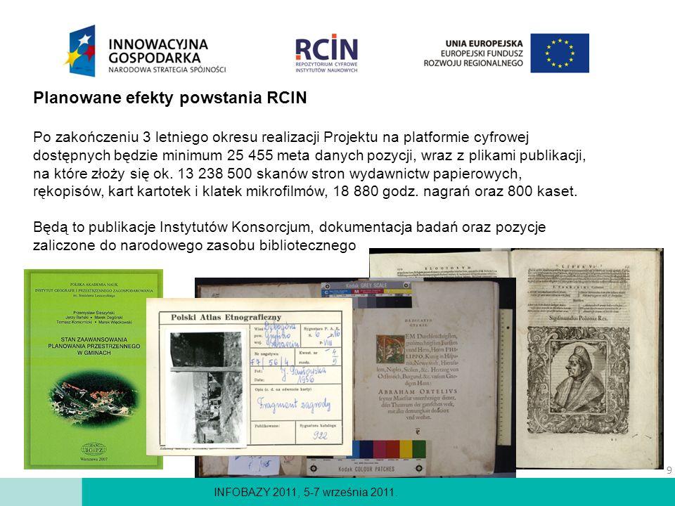 INFOBAZY 2011, 5-7 września 2011. Planowane efekty powstania RCIN Po zakończeniu 3 letniego okresu realizacji Projektu na platformie cyfrowej dostępny