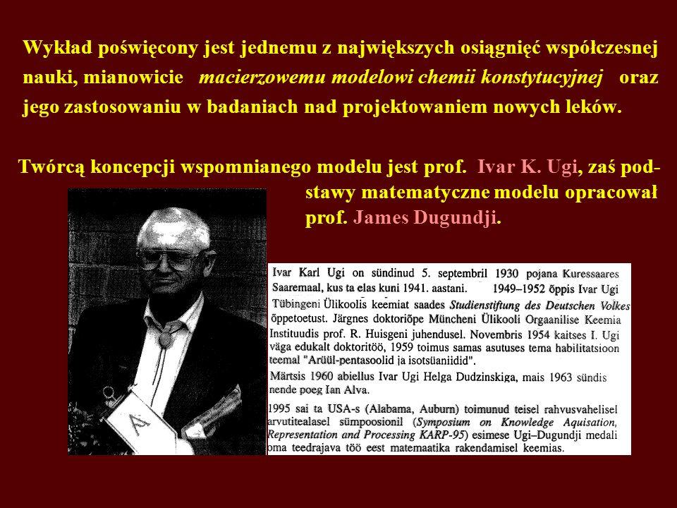 Wykład poświęcony jest jednemu z największych osiągnięć współczesnej nauki, mianowicie macierzowemu modelowi chemii konstytucyjnej oraz jego zastosowa