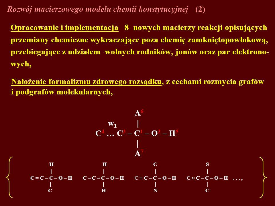 Opracowanie i implementacja 8 nowych macierzy reakcji opisujących przemiany chemiczne wykraczające poza chemię zamkniętopowłokową, przebiegające z udz