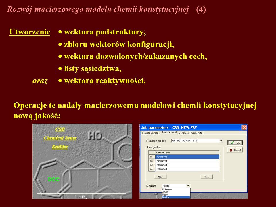 Rozwój macierzowego modelu chemii konstytucyjnej(4) Utworzenie wektora podstruktury, zbioru wektorów konfiguracji, wektora dozwolonych/zakazanych cech, listy sąsiedztwa, oraz wektora reaktywności.