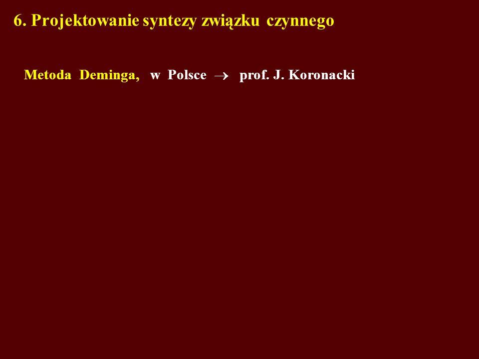 6. Projektowanie syntezy związku czynnego Metoda Deminga, w Polsce prof. J. Koronacki