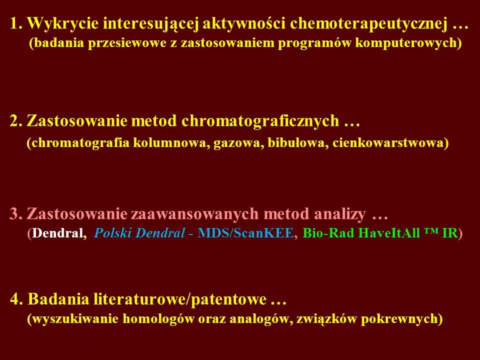 1. Wykrycie interesującej aktywności chemoterapeutycznej … (badania przesiewowe z zastosowaniem programów komputerowych) 4. Badania literaturowe/paten