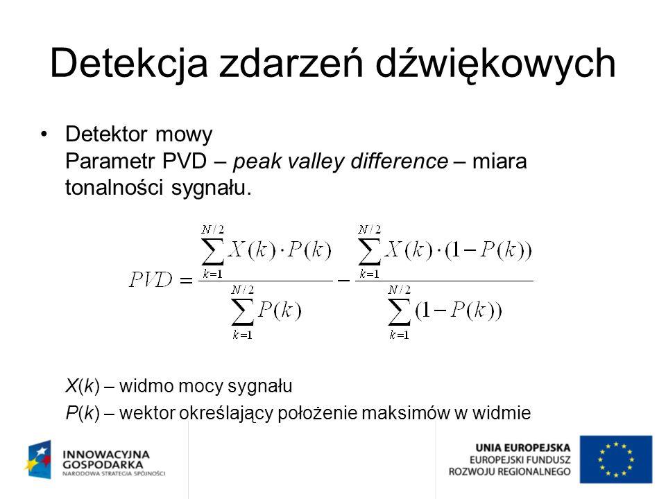 Detekcja zdarzeń dźwiękowych Detektor mowy Parametr PVD – peak valley difference – miara tonalności sygnału. X(k) – widmo mocy sygnału P(k) – wektor o