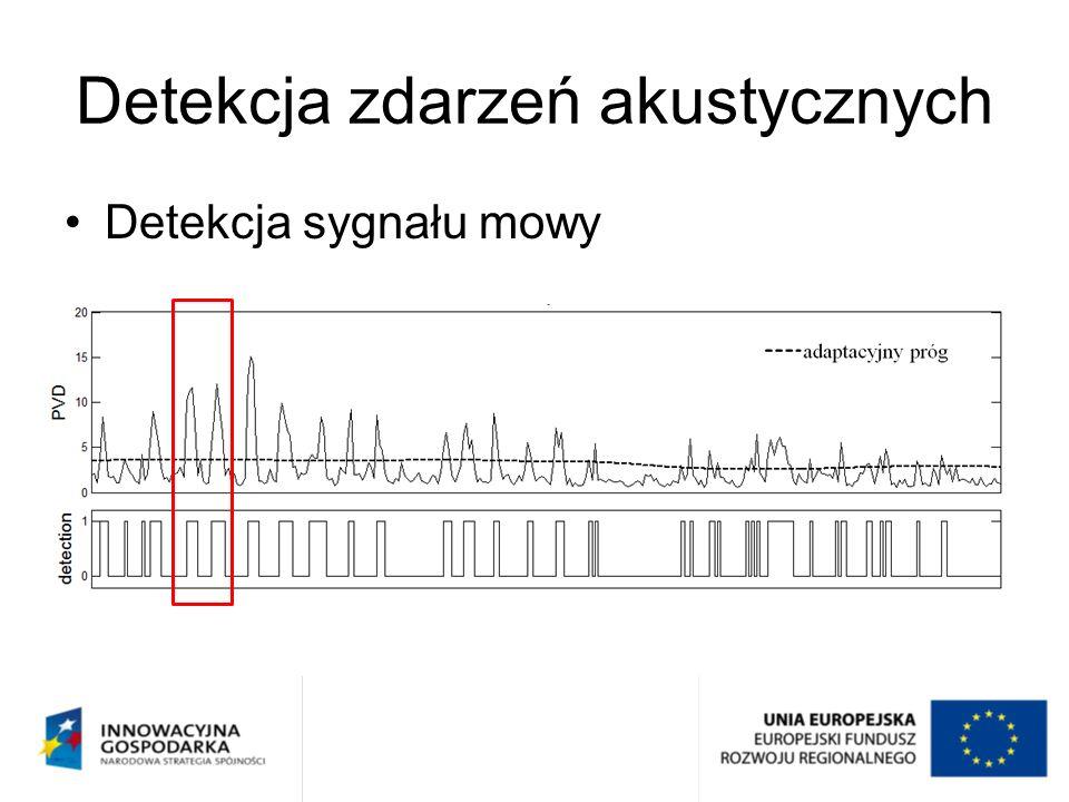 Detekcja sygnału mowy Detekcja zdarzeń akustycznych