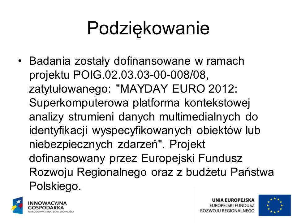 Podziękowanie Badania zostały dofinansowane w ramach projektu POIG.02.03.03-00-008/08, zatytułowanego: