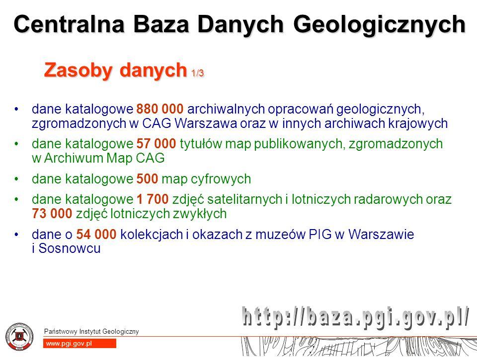 Państwowy Instytut Geologiczny www.pgi.gov.pl Centralna Baza Danych Geologicznych Zasoby danych 1/3 dane katalogowe 880 000 archiwalnych opracowań geo