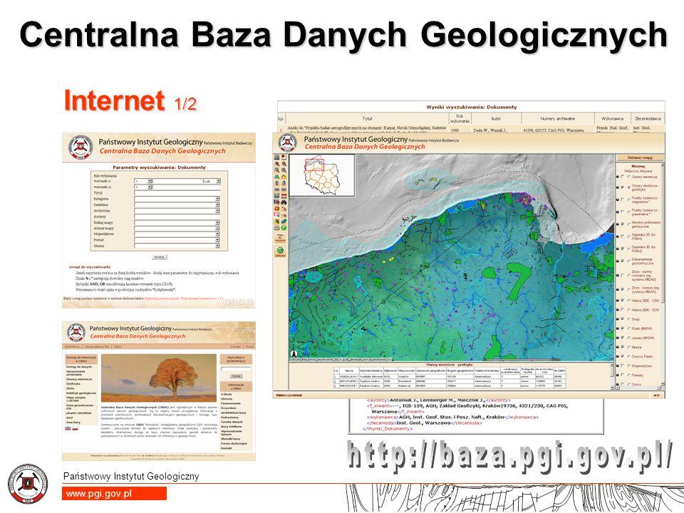Państwowy Instytut Geologiczny www.pgi.gov.pl Centralna Baza Danych Geologicznych Internet 1/2