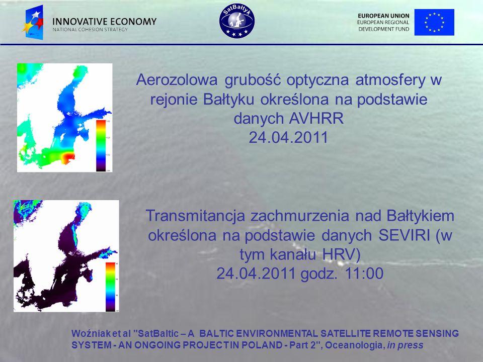 Aerozolowa grubość optyczna atmosfery w rejonie Bałtyku określona na podstawie danych AVHRR 24.04.2011 Transmitancja zachmurzenia nad Bałtykiem określ