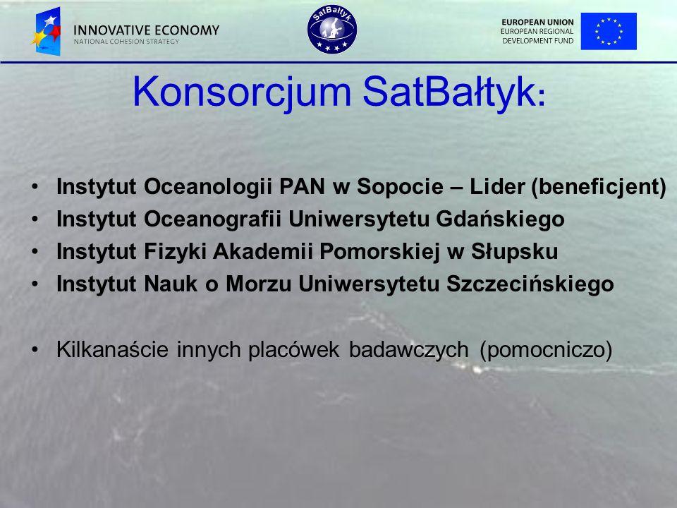 Konsorcjum SatBałtyk : Instytut Oceanologii PAN w Sopocie – Lider (beneficjent) Instytut Oceanografii Uniwersytetu Gdańskiego Instytut Fizyki Akademii
