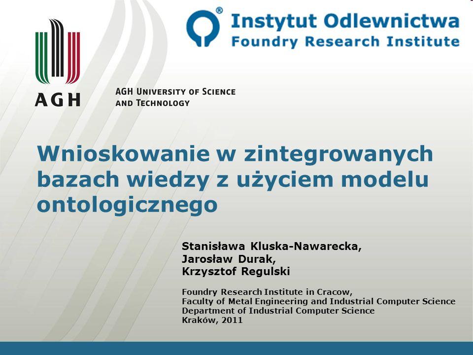 Kraków, 201112 Ontologie Dane Bazy danych Integracja Ontologie Fragment ontologii dotyczący bazy próbek materiałów