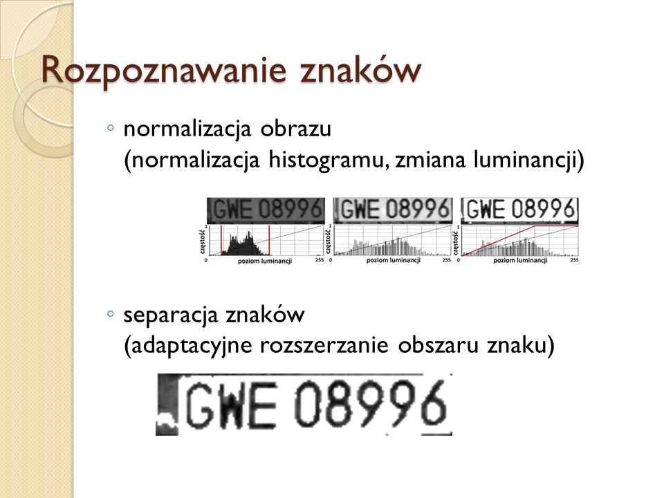 normalizacja obrazu (normalizacja histogramu, zmiana luminancji) separacja znaków (adaptacyjne rozszerzanie obszaru znaku)
