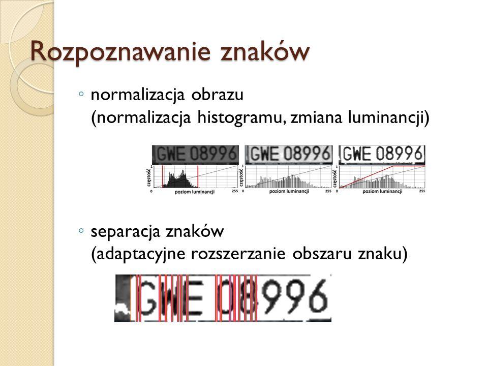 normalizacja obrazu (normalizacja histogramu, zmiana luminancji) separacja znaków (adaptacyjne rozszerzanie obszaru znaku) Rozpoznawanie znaków